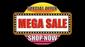Retro Neon Light Sale Sign on Black vector
