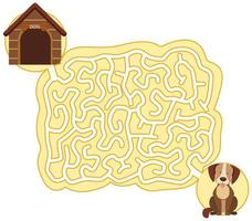 Dog maze puzzle game template vector