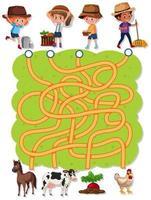 Farmer maze game template vector