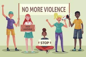 personnes multiraciales protestant contre la violence vecteur