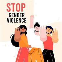 People holding hands up to stop gender violence vector