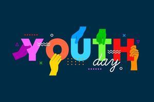 mãos coloridas segurando cartas do dia da juventude vetor
