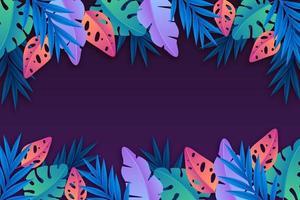 Vibrant tropical leaf frame on purple