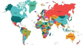 mapa político do mundo com nomes de países