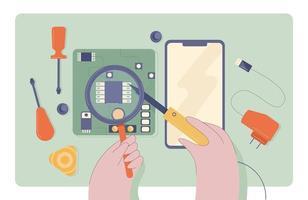 technicien en réparation de téléphones portables vecteur