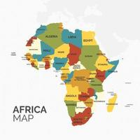 Map of Africa Continent With Different Colors vector