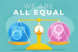 échelle égale avec des symboles masculins et féminins vecteur