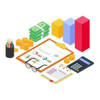 Financial equipment analysis with diagram chart report and document with modern flat isometric style. vector