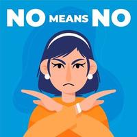 Woman with arms crossed and no means no text vector