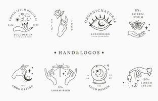 colección de logotipos con manos y lunas vector