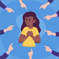 la gente señala con el dedo a una mujer de color vector