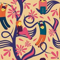 People relaxing on seamless pattern  vector