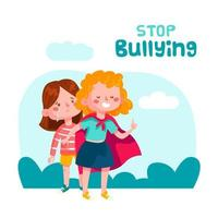 Stop bullying concept with girl protecting friend vector