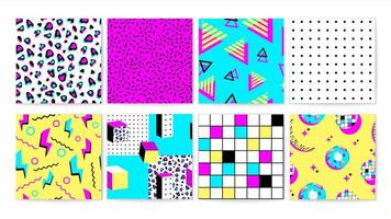 Set of bright 90s vibrant seamless pattern  vector