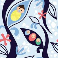 Toddlers wrapped in diaper surrounded by abstract branches vector