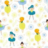 ballerines fille entourées de pissenlits colorés vecteur