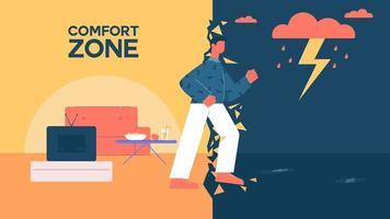 Man leaving comfort zone  vector
