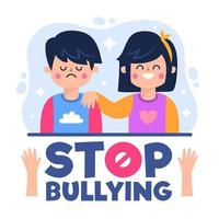 Stop bullying concept with girl comforting boy vector