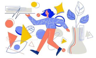 Creative designer surrounded by different geometric shapes