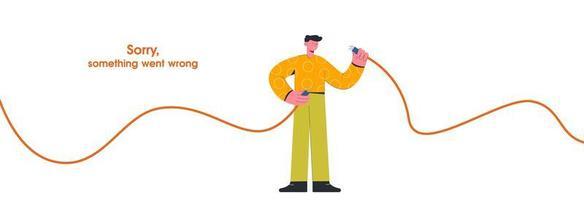cara segurando o cabo de internet desconectado vetor