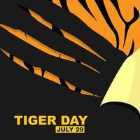 design de dia do tigre com arranhões sobre o padrão de tigre vetor