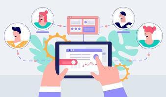 Remote management of business teamwork  vector