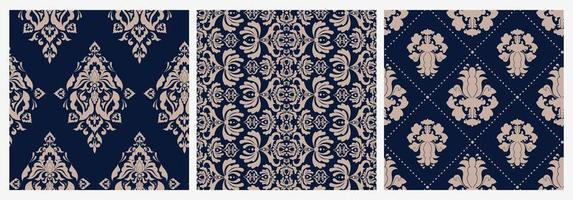 Set of colorful damask floral patterns