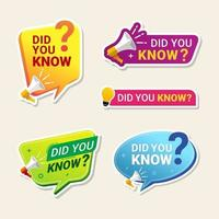 Did you know sticker set vector