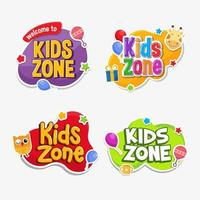 Kids zone and play room label set vector