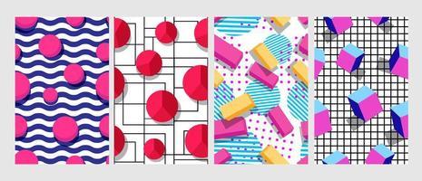 Set of abstract design geometric seamless pattern