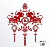 Chinese new year 2021 design with oxen and lanterns vector
