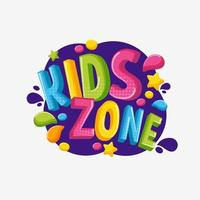 Colorful 3d logo kids zone isolated on white background vector