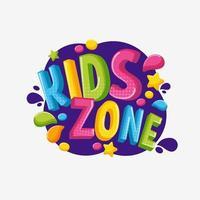 Colorido logo 3d niños zona aislada sobre fondo blanco