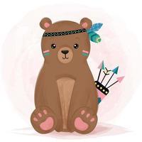 Watercolor style cute boho bear with arrows vector