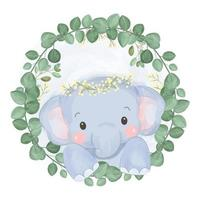 Watercolor style adorable baby elephant vector