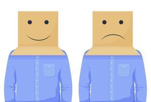 empresario en cabeza de caja positiva y negativa vector
