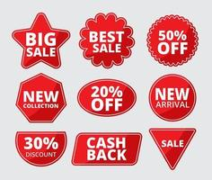 Multiple shape sale label set vector