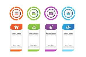 4 step business infographic with colorful circles vector