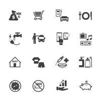 ícones de negócios e dívida vetor