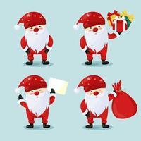Collection of cartoon Santa Claus vector