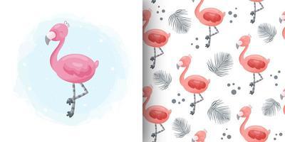 flamenco rosado de dibujos animados y patrones sin fisuras