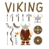 Cartoon viking and weapons set vector
