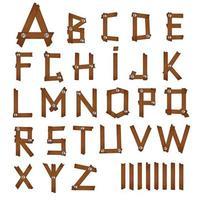 Wood cartoon alphabet vector