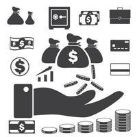 icônes d'argent et de crédit