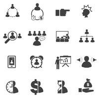 ícones de construção de equipe de negócios