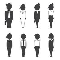 iconos de silueta de gente de negocios vector
