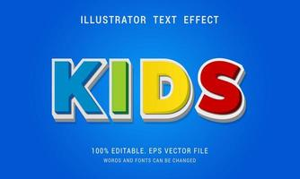 Colorful KIDS Text Effect vector