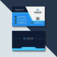 tarjeta de visita moderna azul blanco negro vector