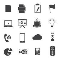 conjunto de iconos de oficina de negocios negro vector