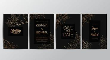 Flower luxury wedding invitation cards